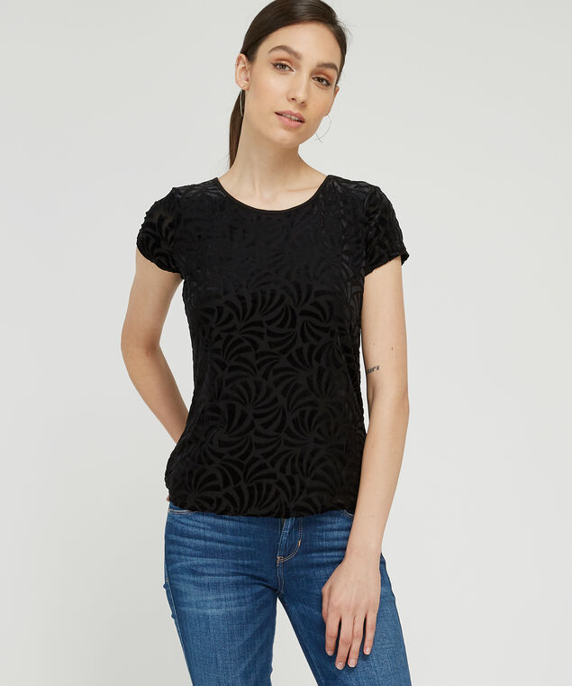 velvet burnout tee - wb, BLACK, hi-res