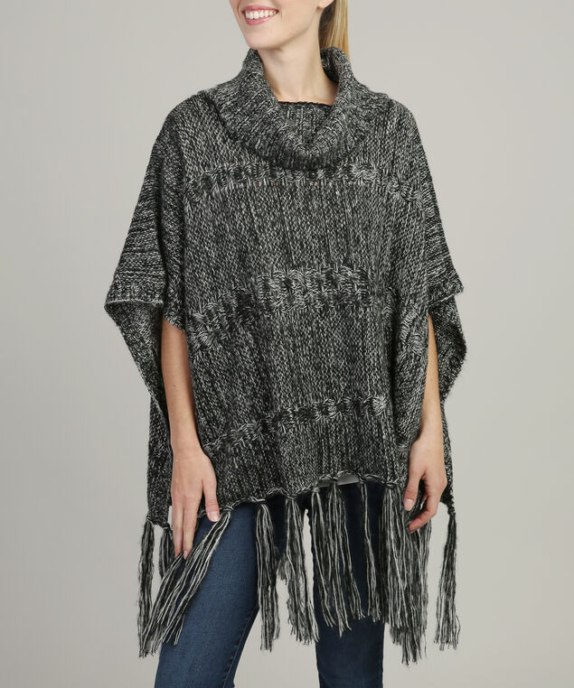 cable knit poncho with fringe, BLACK, hi-res
