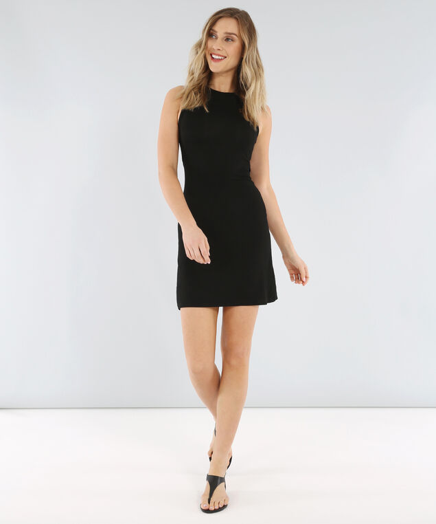 knit dress with tie waist - wb, BLACK, hi-res