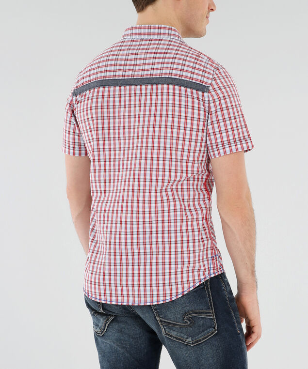 retro-style plaid shirt with contrast panels, WHITE/ORANGE, hi-res