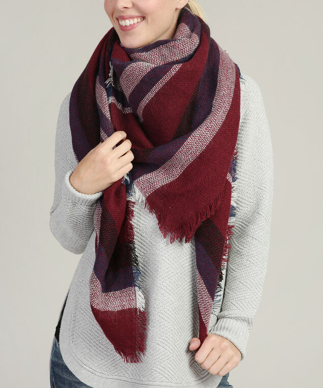 multi-stripe blanket scarf, CRANBERRY/PURPLE/WHITE, hi-res
