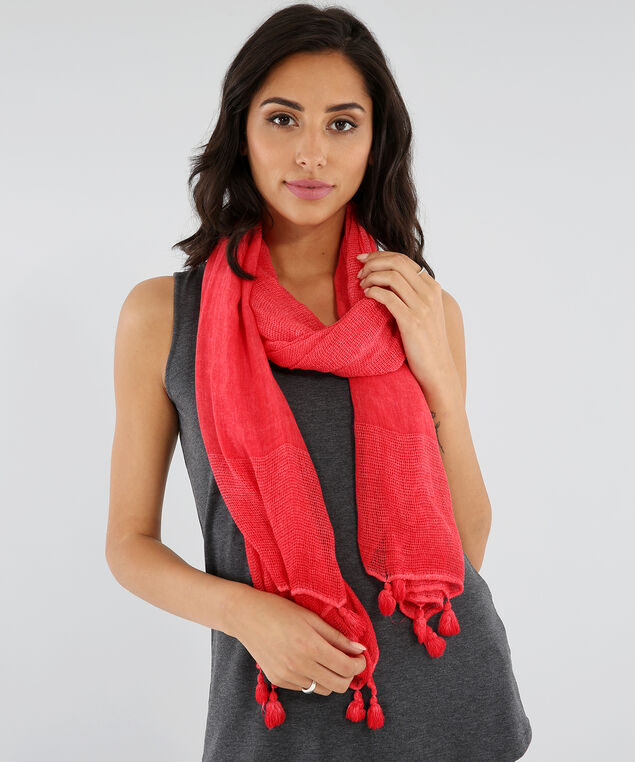 oblong scarf with tassels, CERISE, hi-res