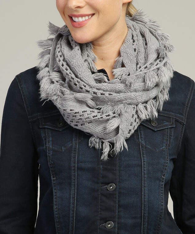 loose knit infinity scarf, CHARCOAL, hi-res