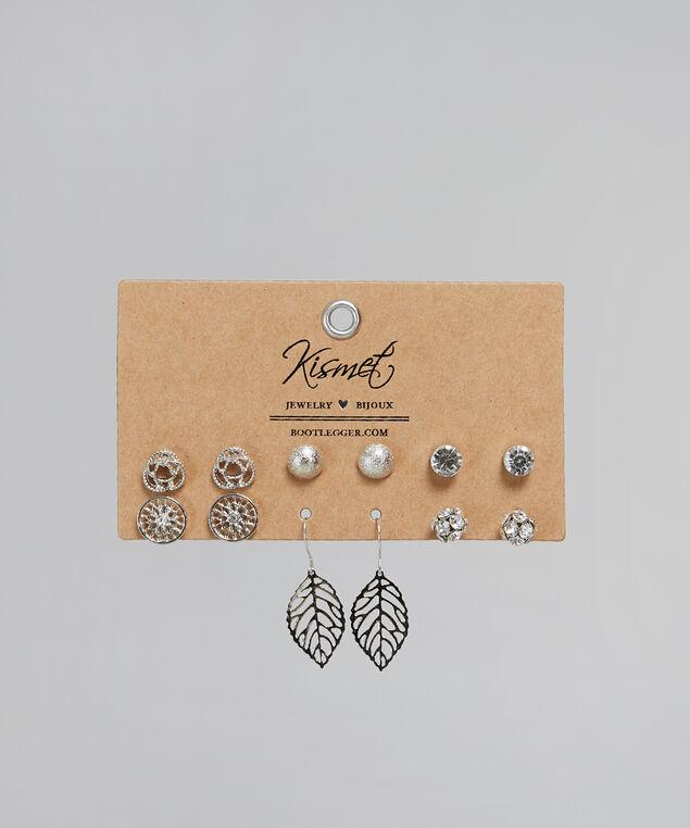 multi pack of silver earrings, SILVER, hi-res