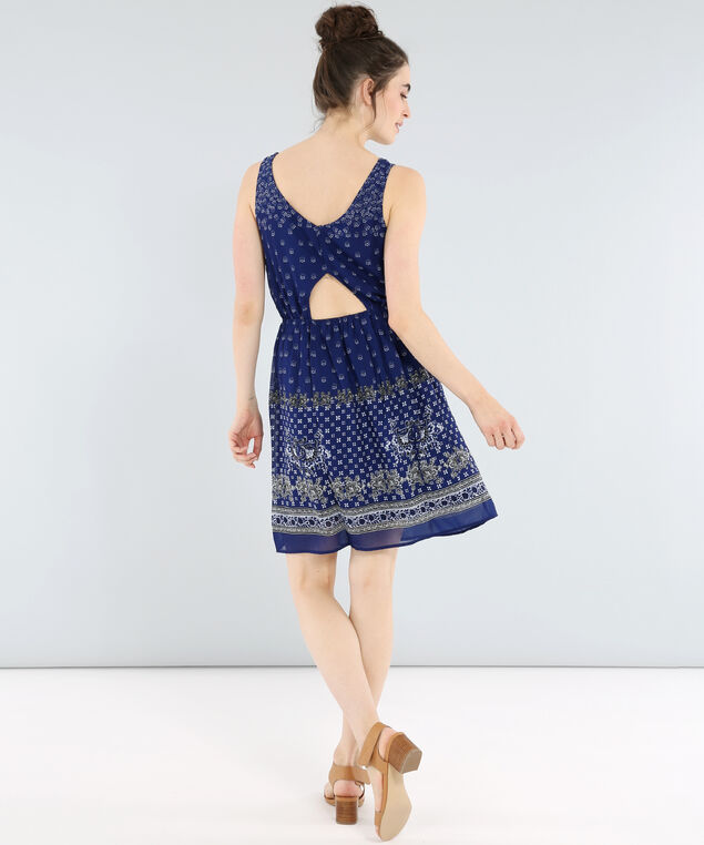 printed short dress - wb, NAVY BORDER, hi-res