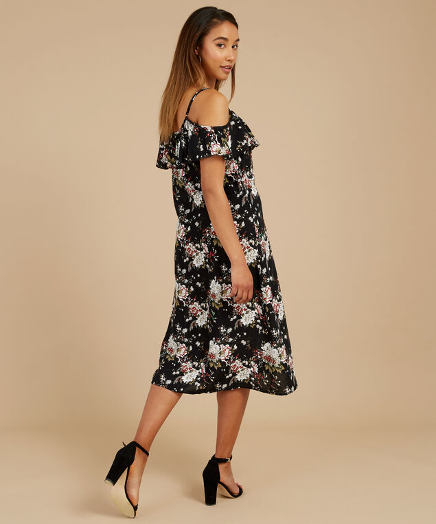 off the shoulder a-line dress, FLOWER, hi-res