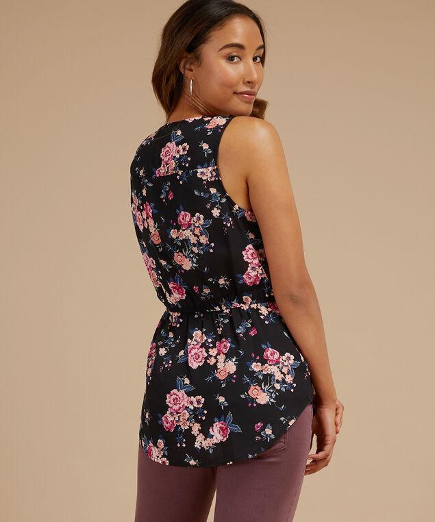 sleeveless blouse with pocket - wb, BLACK PRINT, hi-res