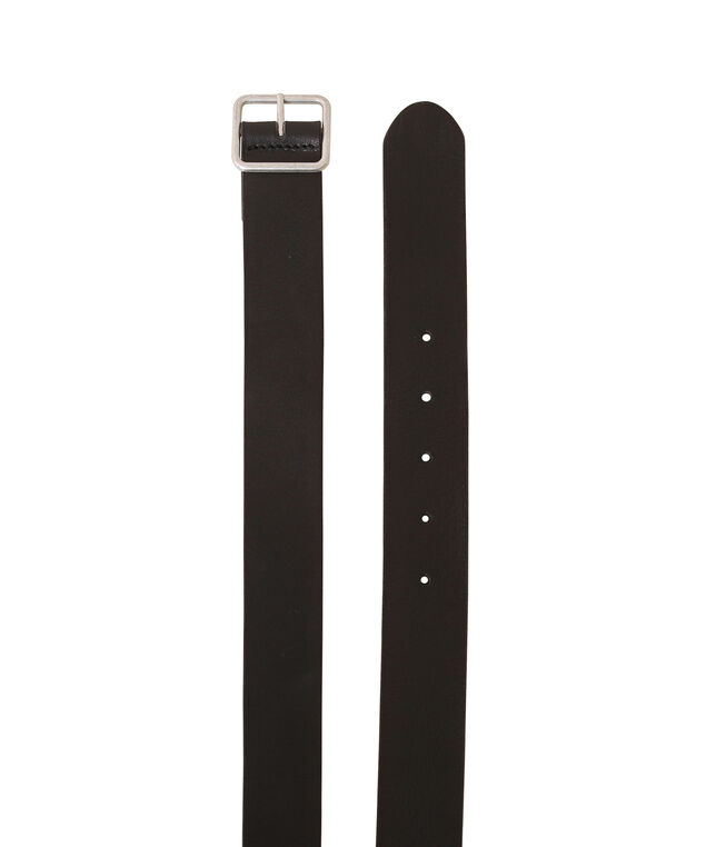 leather belt with square buckle, BLACK, hi-res