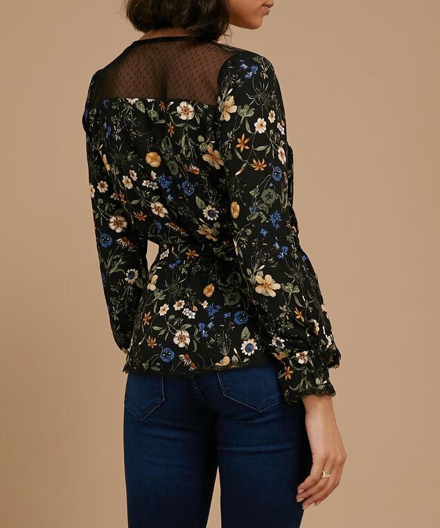 printed faux wrap blouse - wb, BLUE/DIJON, hi-res