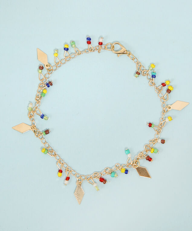 multi colour seed bead anklet, GOLD, hi-res