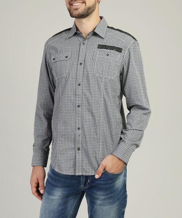 checkered shirt with pocket detail, GREY, hi-res
