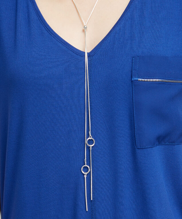 snake chain lariat necklace, SILVER, hi-res