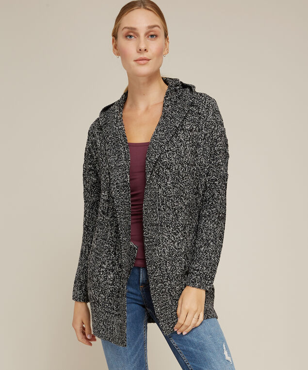 hooded cable cardigan - wb, BLACK TWIST, hi-res