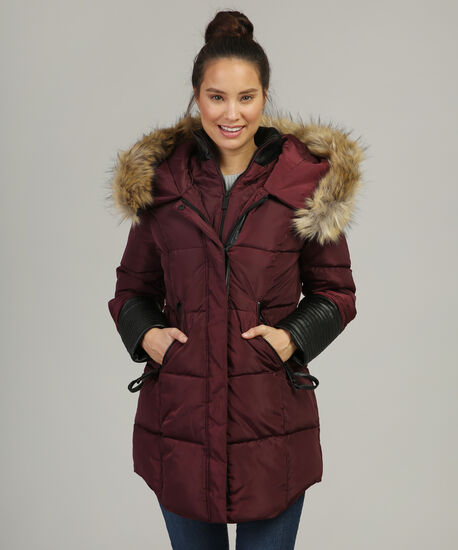 parka with faux leather sleeve detail - wb, BORDEAUX, hi-res