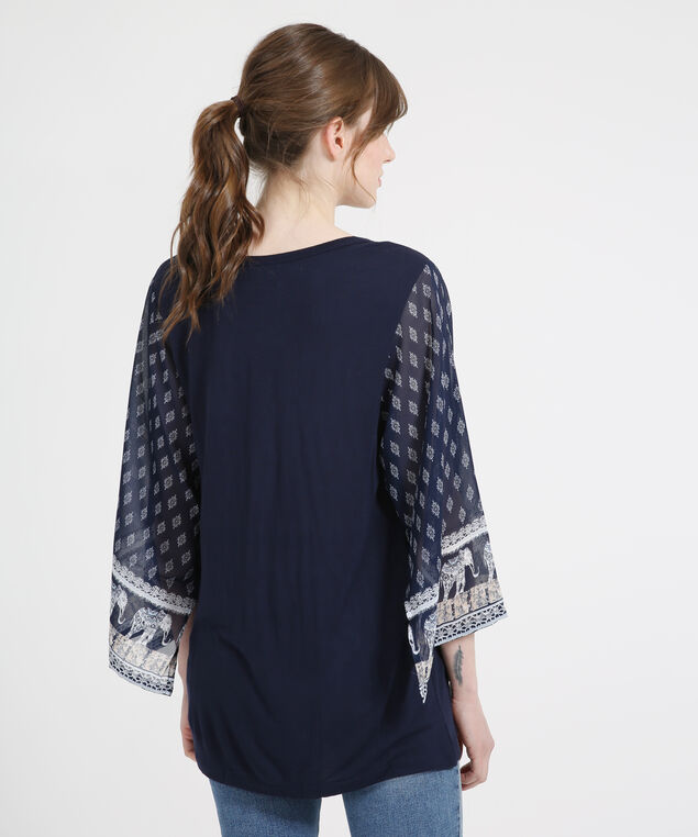 chiffon sleeve jersey top - wb, NAVY, hi-res