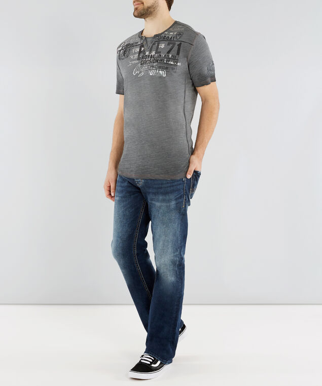 short sleeve graphic henley, CHARCOAL, hi-res