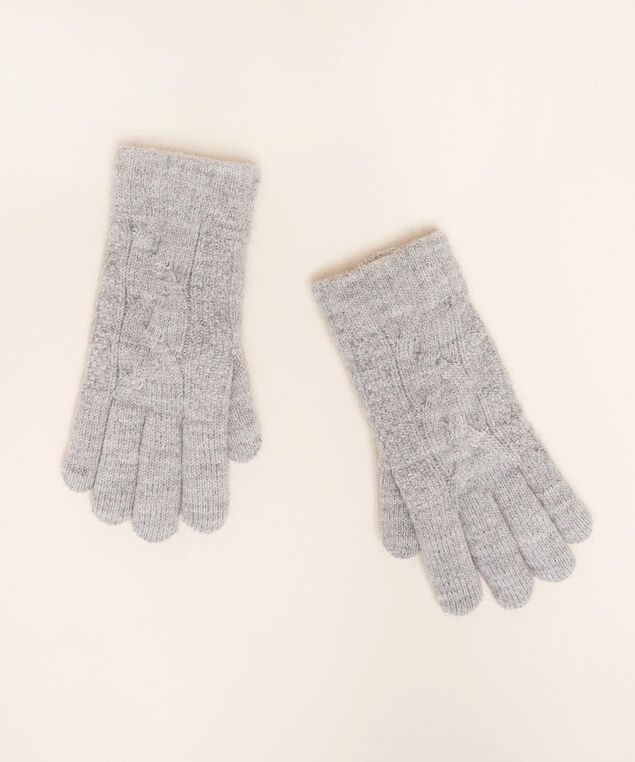 cable knit glove with chenille lining, LT GREY, hi-res