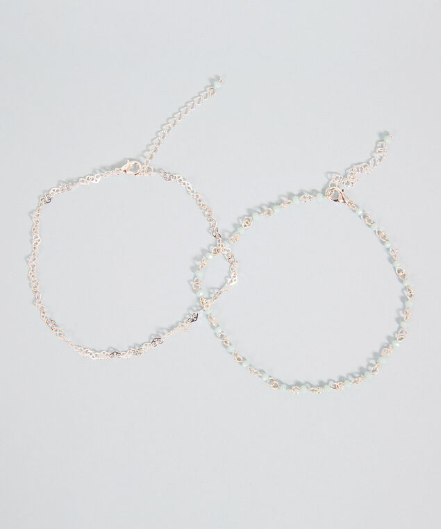 double chain anklet, SILVER, hi-res