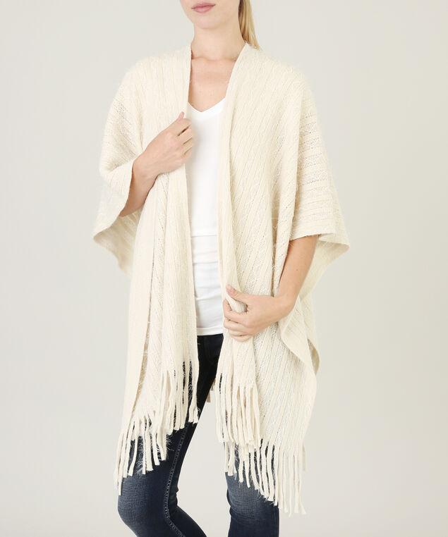 shawl with fringe hemline - wb, NATURAL, hi-res