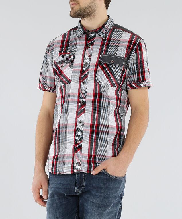 woven plaid shirt, ROUGE, hi-res