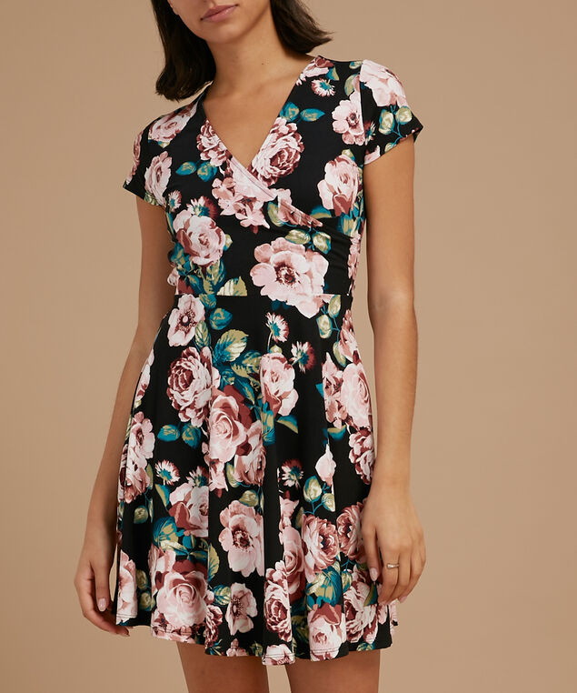 wrap dress with tie, BLUSH FLORAL, hi-res