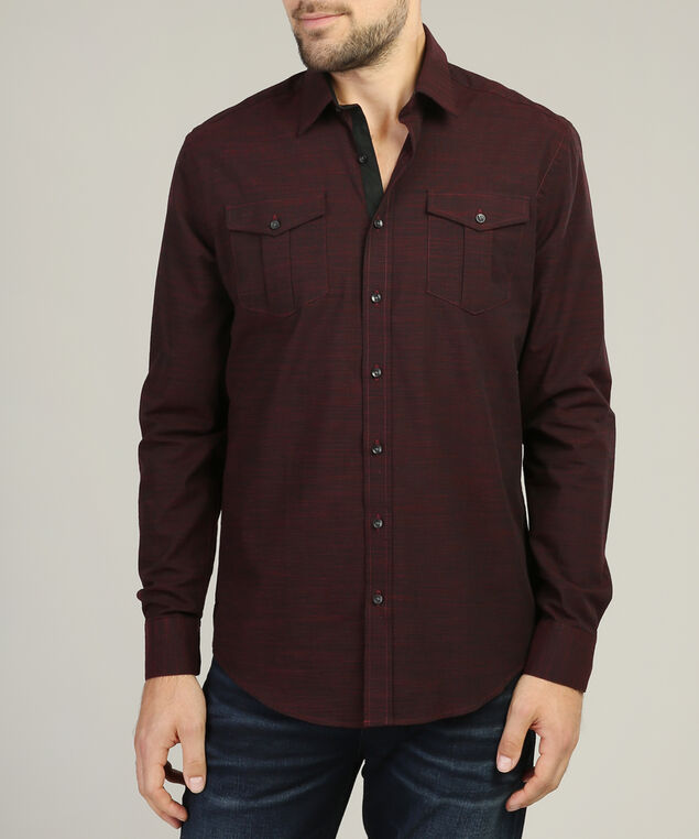 long sleeve dress shirt, BURGUNDY, hi-res