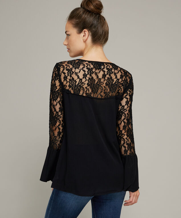 lace bell sleeve top - wb, BLACK, hi-res