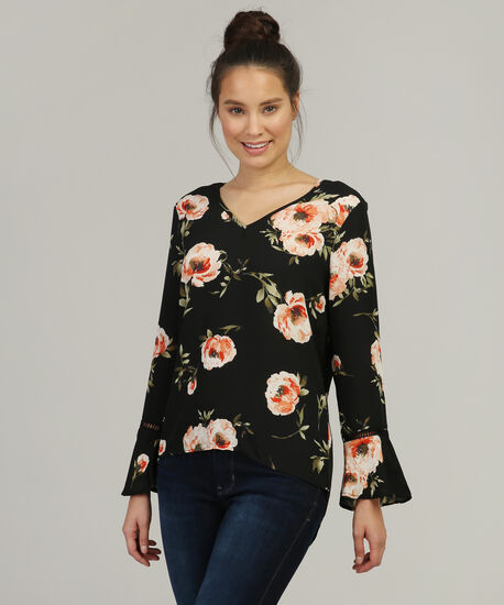 v neck bell sleeve shirt, BLACK FLORAL, hi-res
