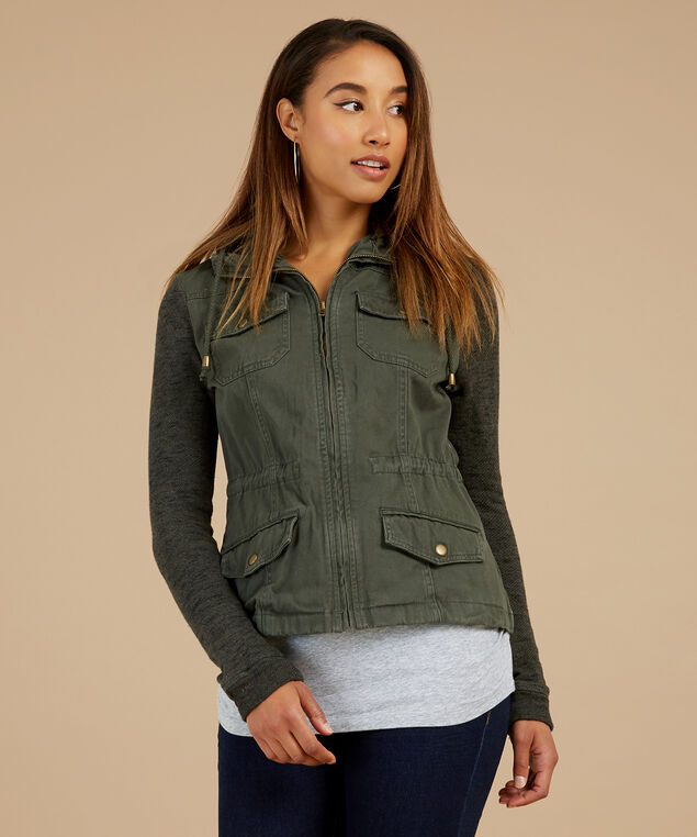 cargo jacket with knit sleeve and hood - wb, OLIVE BLACK, hi-res