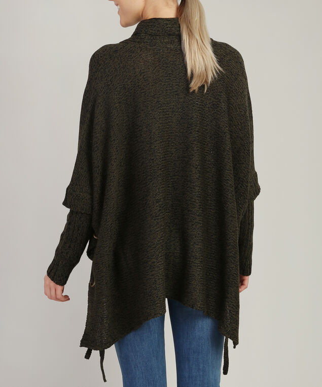 poncho with lace up side - wb, OLIVE TWIST, hi-res