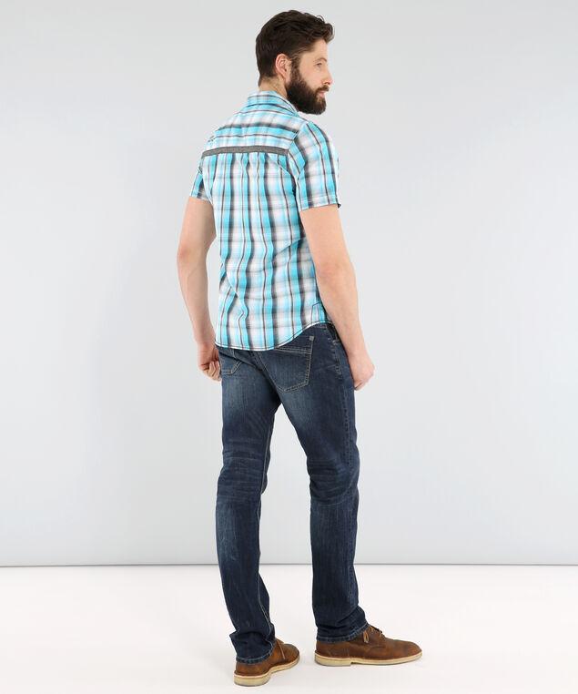 short sleeve plaid shirt, TURQUOISE, hi-res