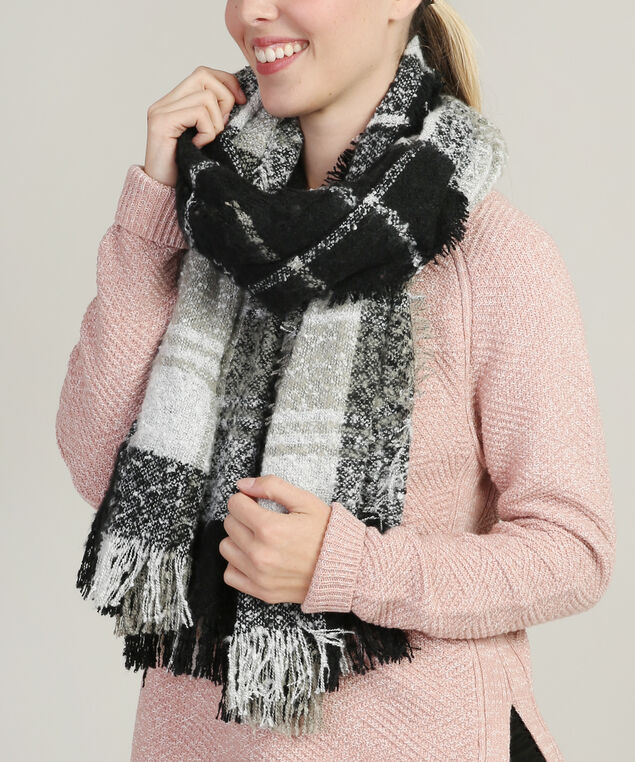 windowpane scarf, BLACK/WHT, hi-res