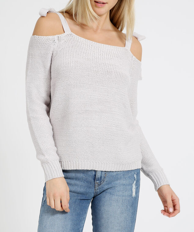 shoulder tie sweater - wb, STERLING, hi-res