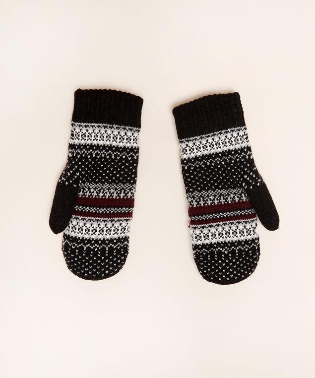 fairisle mittens, BLACK/BORDEAU, hi-res