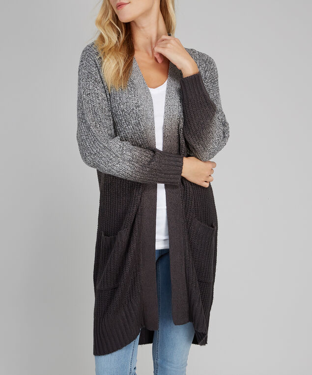 ombre cardigan - wb, BLACK, hi-res