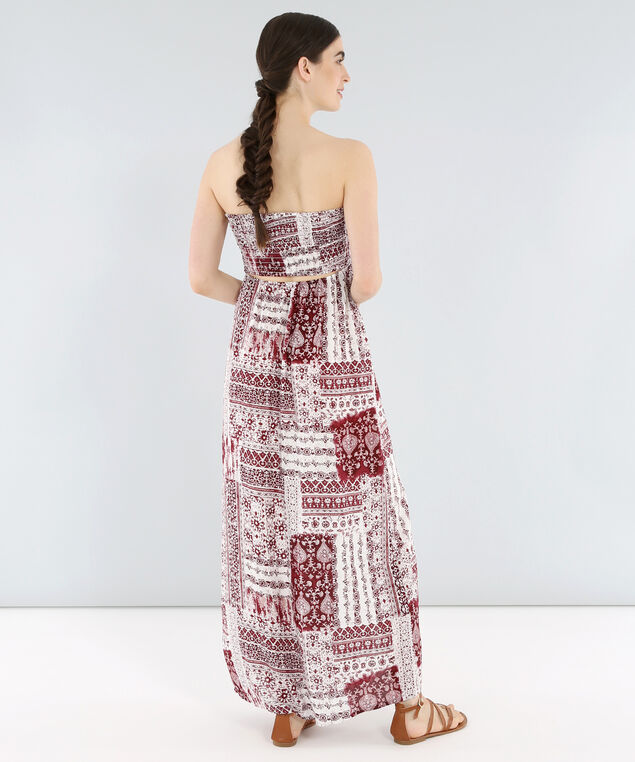 printed maxi with open back - wb, BURGUNDY, hi-res