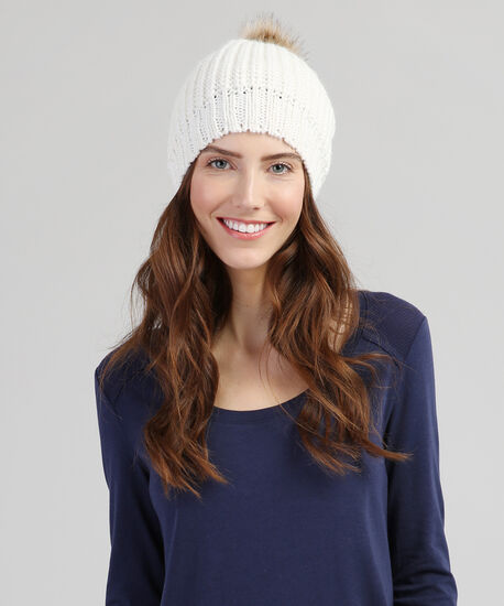 silver lurex beanie with pompom, IVORY, hi-res