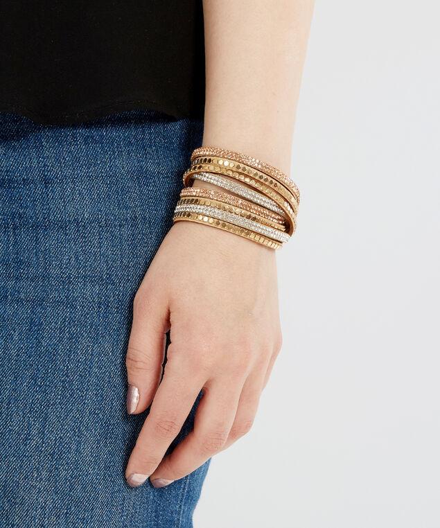 gold multi strap bracelet, GOLD/CAMEL, hi-res