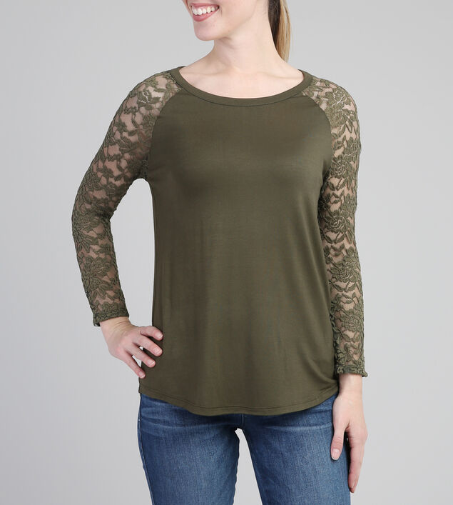 3/4 lace sleeve tee, OLIVE, hi-res