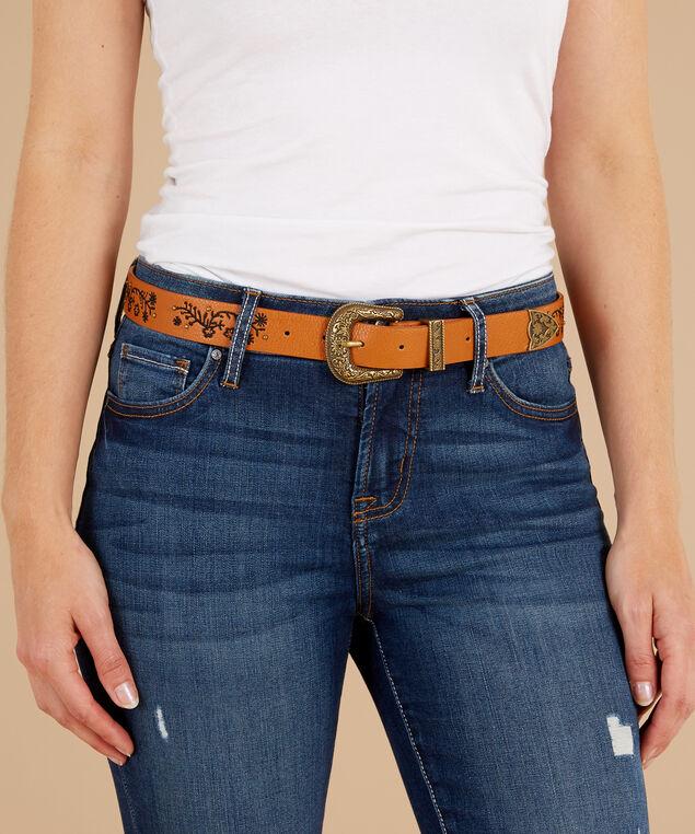 brown embroidery belt, BROWN, hi-res