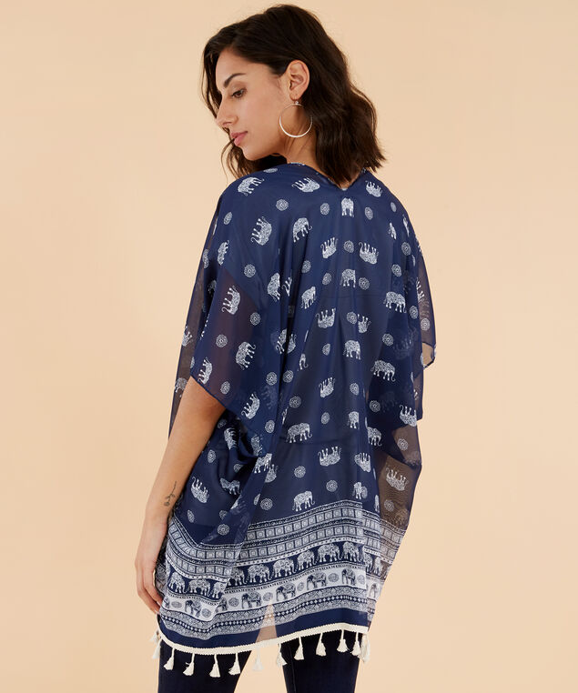 chiffon elephant print kimono, NAVY, hi-res
