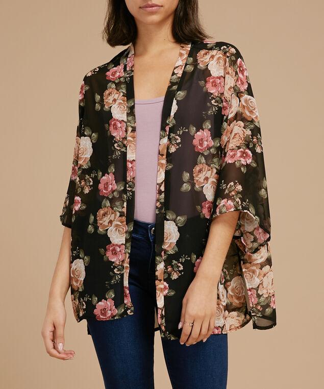 printed crepe kimono, TAUPE BLACK, hi-res