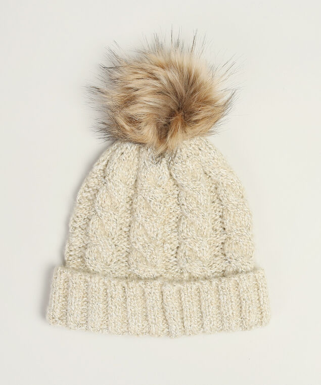 cable knit beanie with pompom, OATMEAL, hi-res