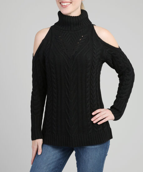 cold shoulder cable knit popover, BLACK, hi-res