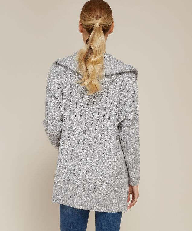 hooded cable cardigan - wb, GREY TWIST, hi-res
