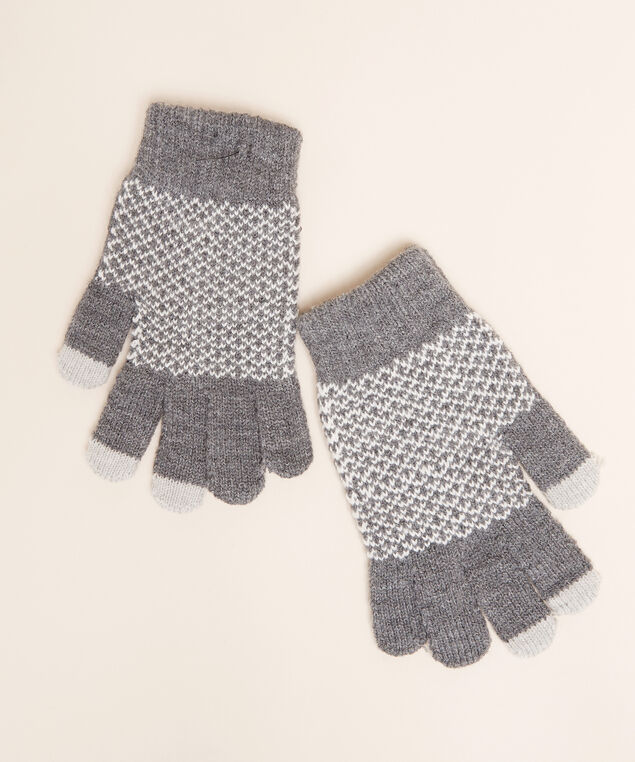 touch screen gloves, GREY/IVORY, hi-res