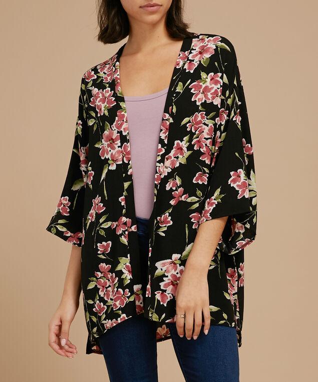 printed crepe kimono, ROSE FLORAL, hi-res