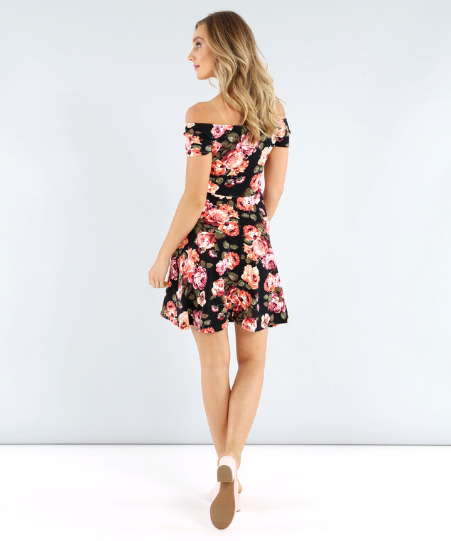 off the shoulder knit dress, LARGE BLACK FLORAL, hi-res