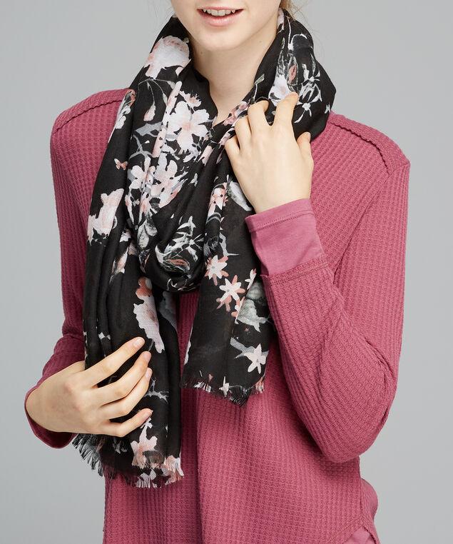 oblong black floral scarf, BLACK FLORAL, hi-res