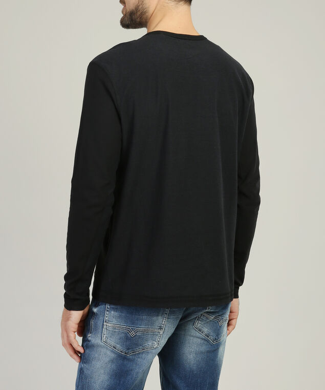 graphic henley tee - wb, BLACK, hi-res